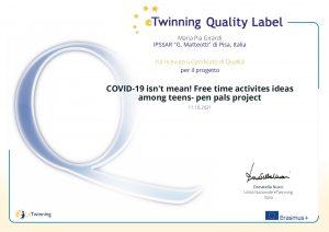 Diploma Etwinning progetto Covid19